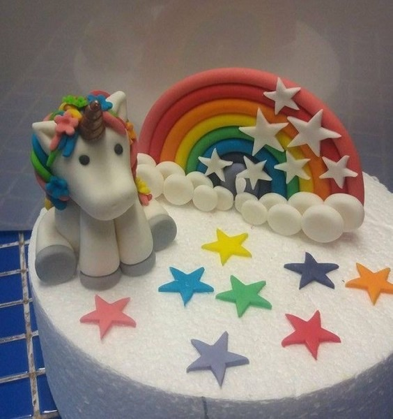 Handmade 100  Edible Rainbow Unicorn Themed Cake Topper Set