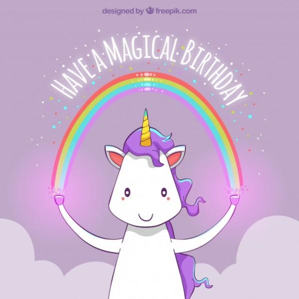 Happy Birthday Unicorn Background With A Rainbow Vector