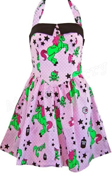 Hell Bunny Zombie Unicorn Mini Dress Rockabilly Pin Up Horror Punk