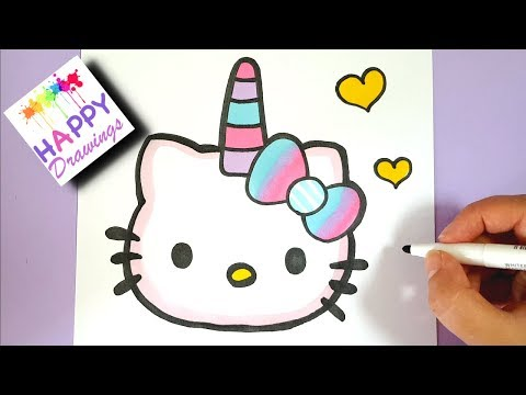 How To Draw Cute Unicorn Hello Kitty Emoji Easy