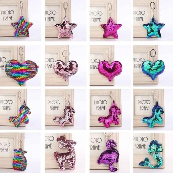 Imucci Cute Star Unicorn Mermaid Keychain Glitter Pompom Sequins