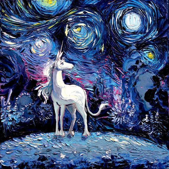 Last Unicorn Art Starry Night Giclee Print Van Gogh Never