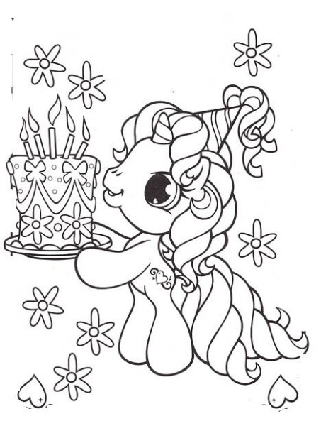 Little Pony Brought A Birthday Cake Coloring Pages