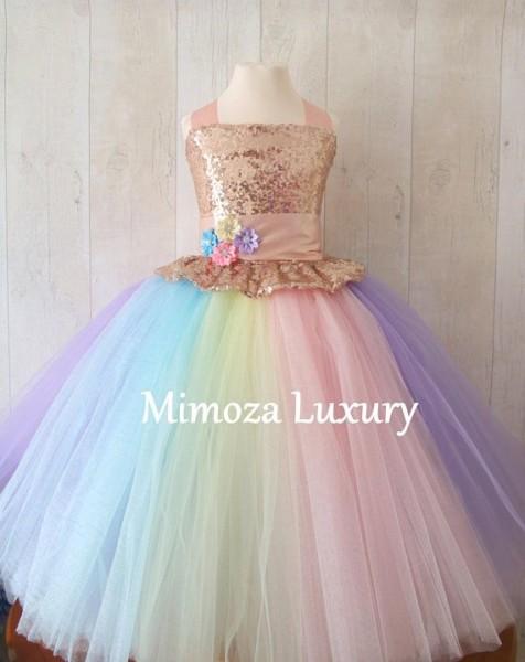 Luxury Unicorn Birthday Dress, Unicorn Tutu Dress, Rainbow Unicorn