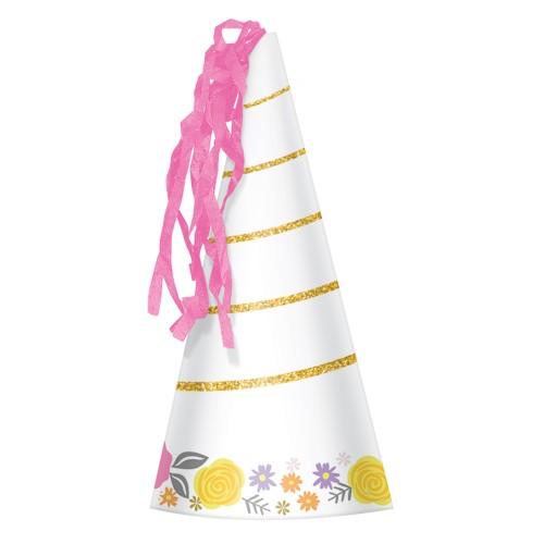 Magical Unicorn Glittered Party Hats X 8