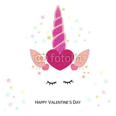 Magical Unicorn Valentine's Day Hearts  Happy Valentine's Day