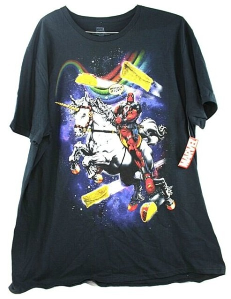 Marvel Deadpool Maximum Effort Riding Unicorn In Space Mens