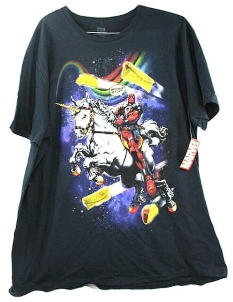 Marvel Deadpool Maximum Effort Riding Unicorn In Space Mens
