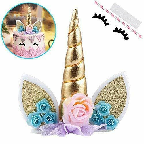 Maxhope Unicorn Cake Topper With Eyelashes Party Cake Decoration