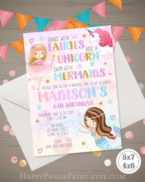 Mermaid, Unicorn, Fairies Invitation, Magical Party Invitation