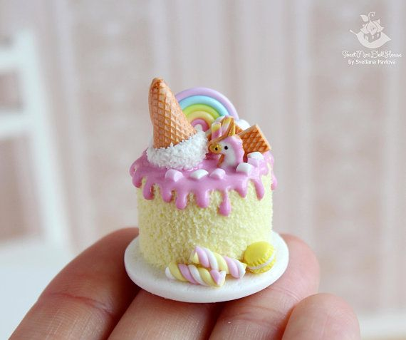 Miniature Unicorn Cake  1 12 Scale  Polymer Clay  Handmade
