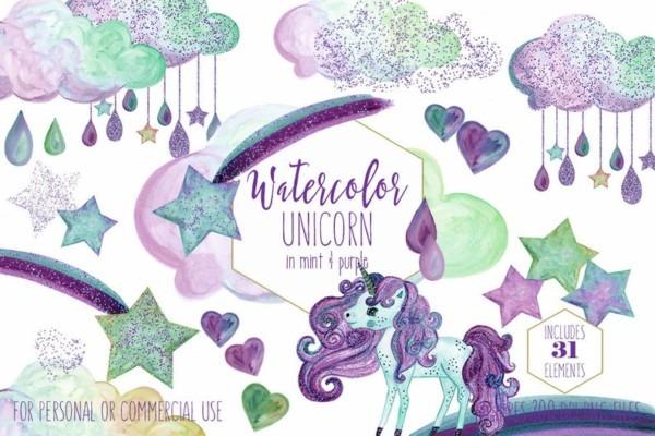 Mint & Purple Unicorn Clipart Commercial Use Clip Art