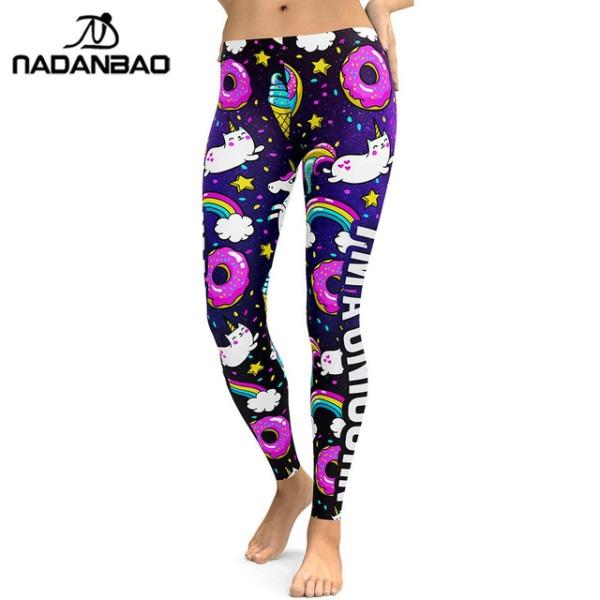 Nadanbao 2018 Unicorn Party Series Leggings Women Colorful Digital