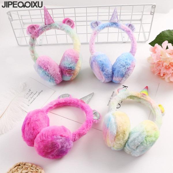 New Winter Kids Unicorn Earmuffs Cute Cartoon Ear Plush Warm
