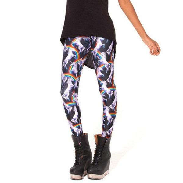 Pantalones Mujer Women Fashion 3d Rainbow Unicorn Animal Leggings