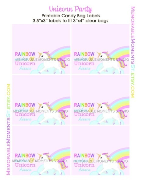 Printable Candy Bag Labels Rainbow Wishes And Unicorn Kisses