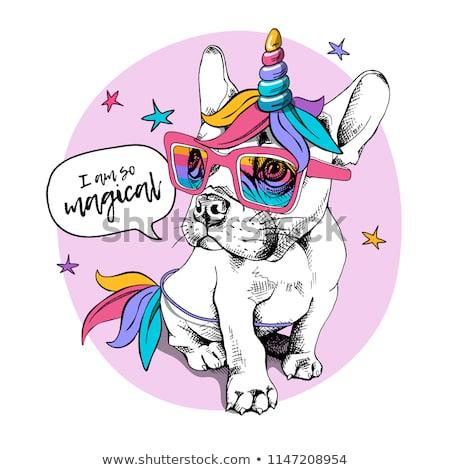Puppy Bulldog Bright Colored Costume Unicorn Stock Vector (royalty