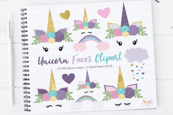 Purple Unicorn Faces Clipart Unicorns Clipart Purple
