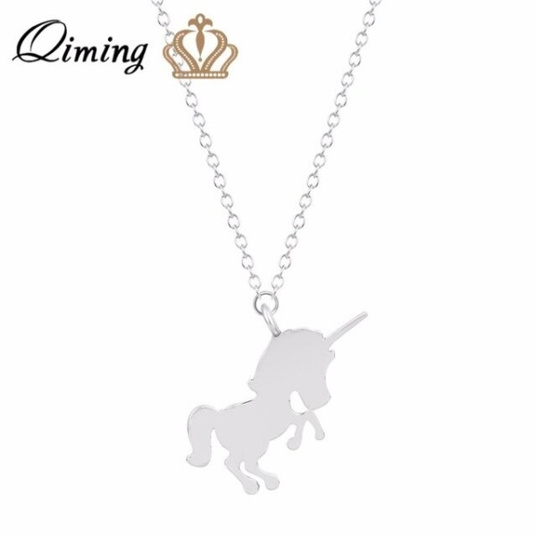 Qiming Gold Silver Plated Unicorn Necklace For Women Best Friend