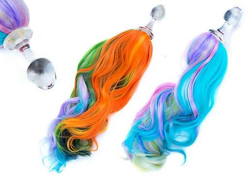 Rainbow Unicorn Pony Tail Plugs