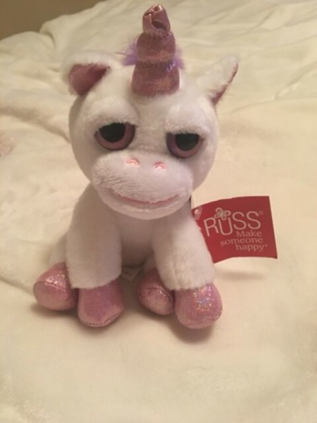 Russ Lil Peepers Pearl White Plush Unicorn 6  For Sale Online