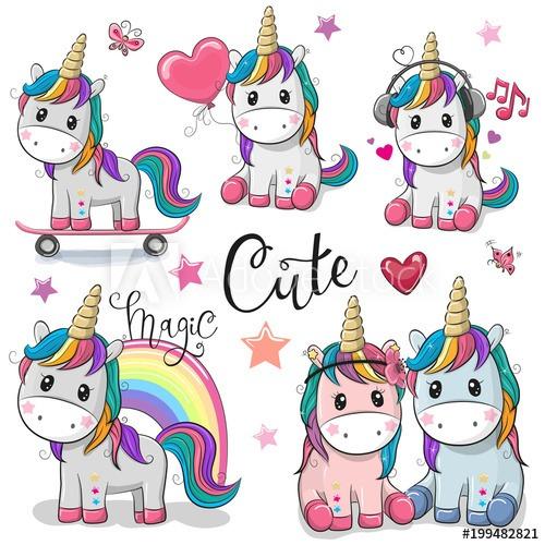 Set Of Cute Cartoon Unicorns