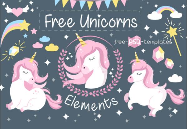 Set Of Unicorn Vector Elements
