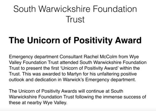 South Warwickshire Foundation Trust The Unicorn Of Positivity