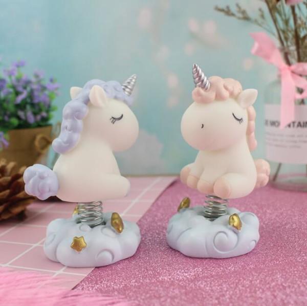 Spring Base Unicorn Car Toys Dolls Dashboard Car Decoration
