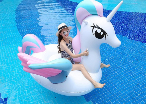 Sweet Candy Unicorn Pool Float For Girls Nontoxic Pvc Material
