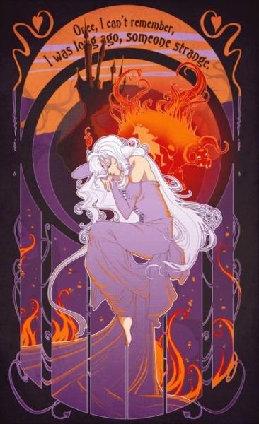 The Last Unicorn Art Nouveau Print  3
