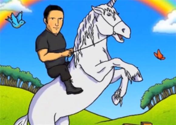 Trent Reznor Rides A Unicorn In Fan