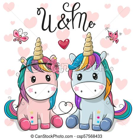 Two Cute Unicorns On A Hearts Background  Two Cute Cartoon