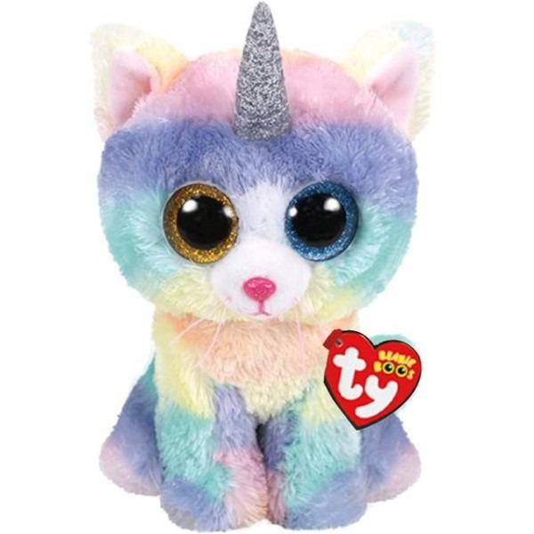Ty Beanie Boos Heather The Cat Unicorn Plush Regular Soft Big Eyed