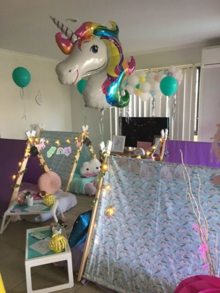 Unicorn And Rainbow Girl& 39;s Slumber Sleepover Teepee Party Hire