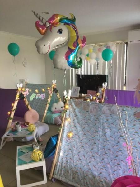 Unicorn And Rainbow Girl& 39;s Slumber Sleepover Teepee Party Hire