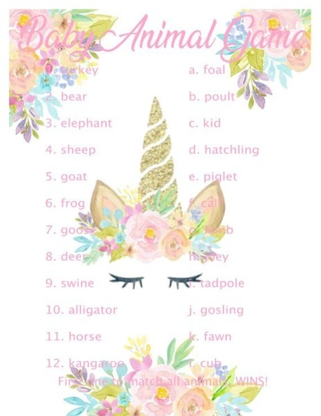 Unicorn Baby Shower Games 10 Printable Games Plus 2 Free Banners