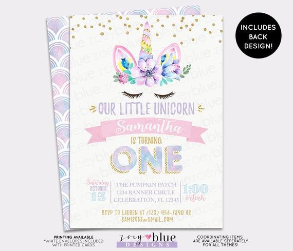 Unicorn First Birthday Invitations