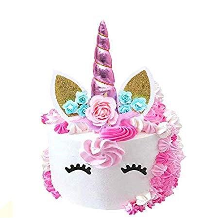 Unicorn Cake Topper,unicorn Horn, Ears And Flowers Set,reusable