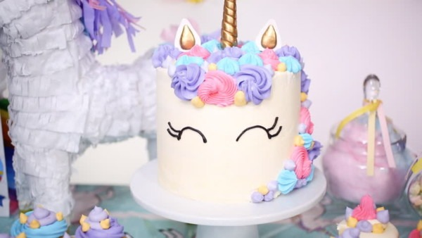 Unicorn Cake With Buttercream On Stock Footage Video (100