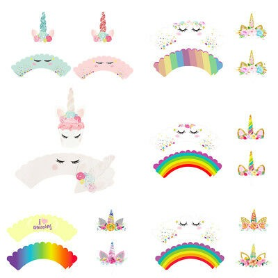 Unicorn Cupcake Toppers Wrappers Double Sided Kids Party Cake