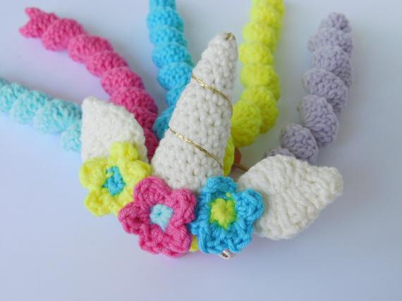 Unicorn Hair Clip Crochet Unicorn Hair Clip Unicorn Horn