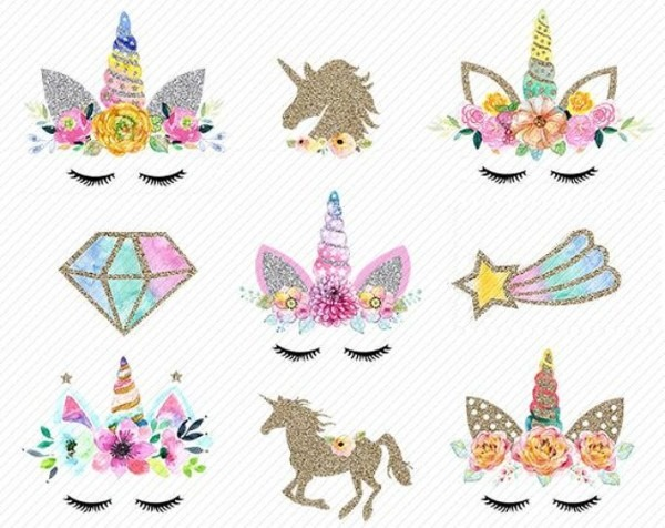 Unicorn Head Clipart Unicorns Clipart Gold Glitter Unicorns