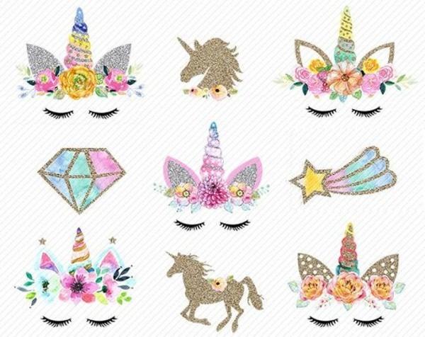 Unicorn Head Clipart Unicorns Clipart Gold Glitter Unicorns