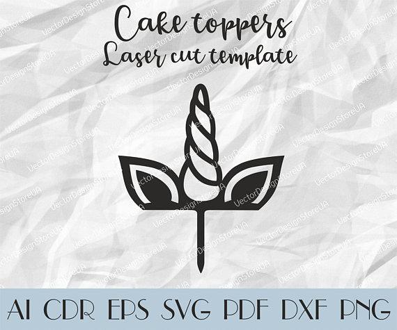 Unicorn Horn Ears Cupcake Topper,unicorn Cake Topper,unicorn Horn