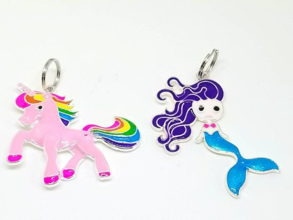 Unicorn Mermaid Keychain Necklace Pendant Charm Girls