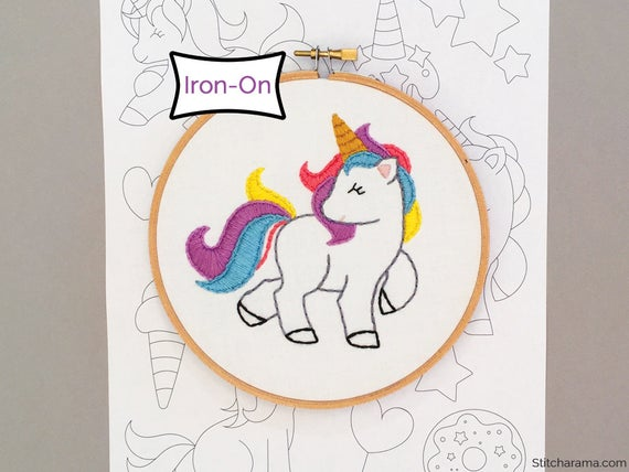 Unicorn Party Embroidery Pattern Iron On Hand Embroidery