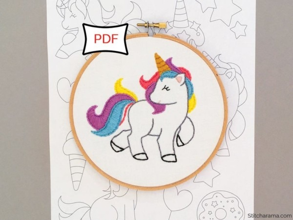 Unicorn Party Embroidery Pattern Pdf Digital Download Hand