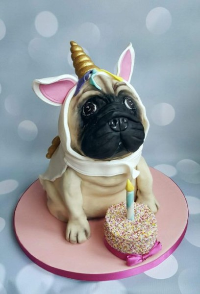 Unicorn Pug Birthday Cake! Completely Edible