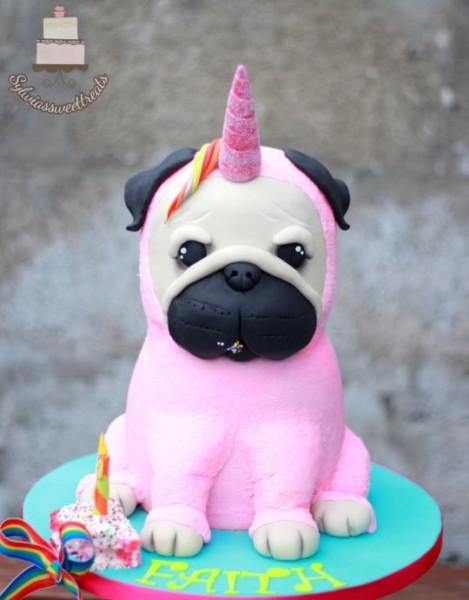 Unicorn Pug Dog Cake  )
